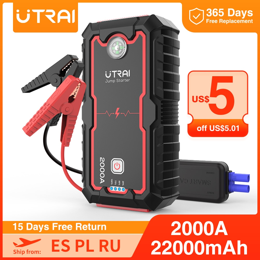 UTRAI Car Jump Starter Power Bank 16000/22000mAh 12V Starting Device Portable Emergency Car Booster Auto Car Battery Charger Gas