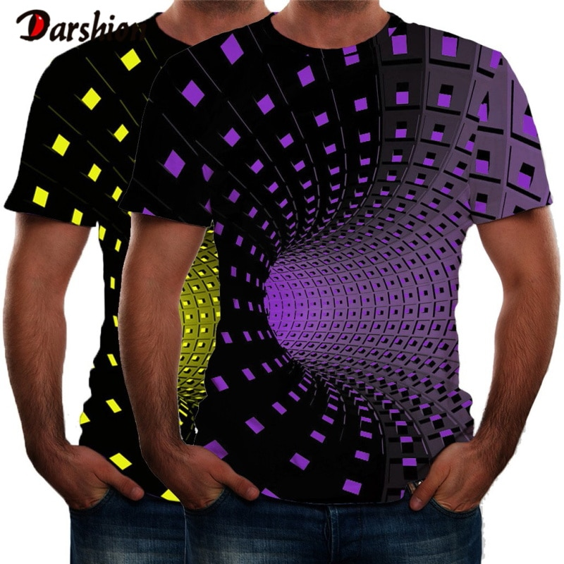 Gran oferta de verano, ropa de manga corta con cuello redondo para hombre, 3D diseño colorido Camiseta con estampado, camiseta de talla grande, camiseta para hombre Plus 4XL