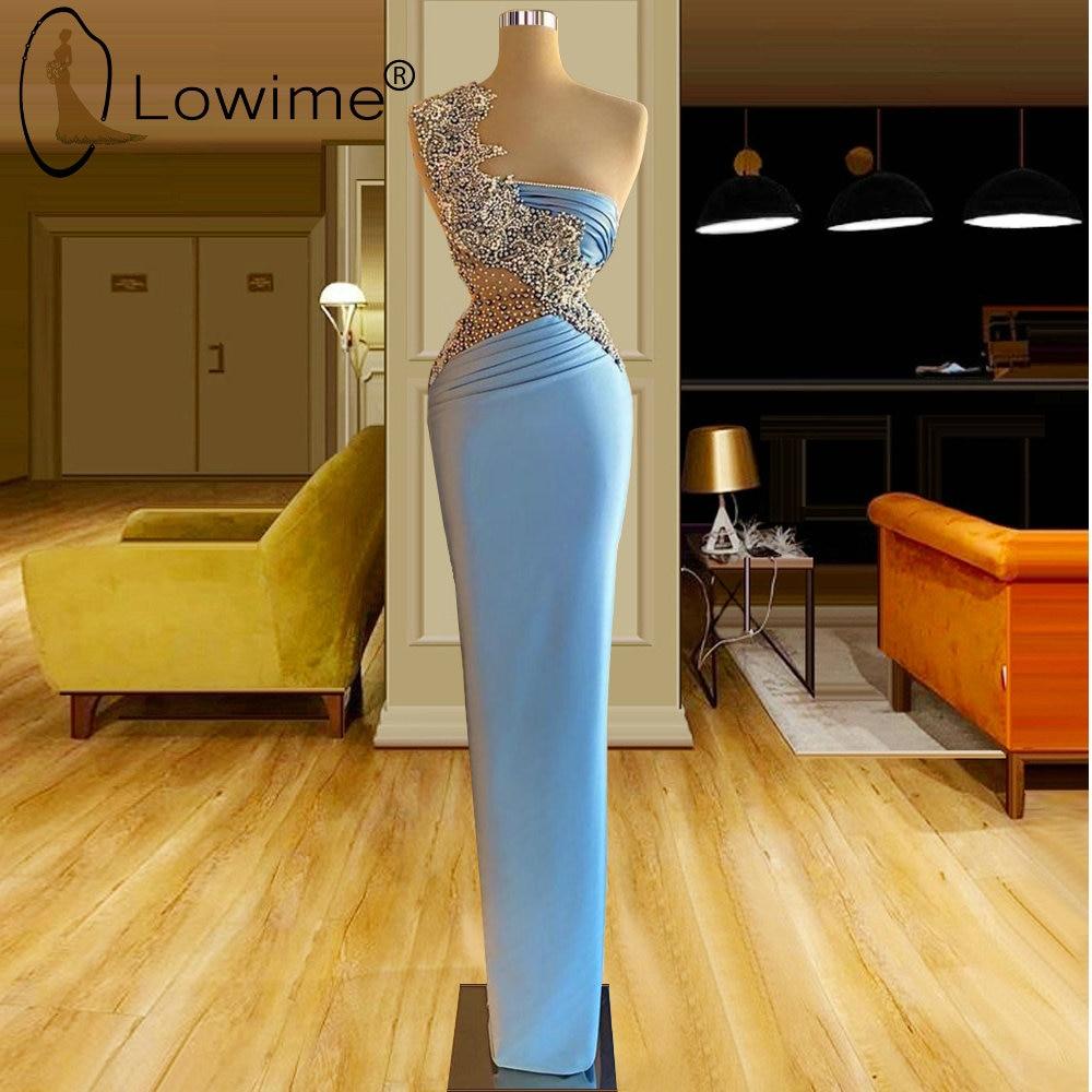 فستان سهرة ساتان أزرق فاتح ، تأثير وهمي ، ياقة دائرية ، لؤلؤ ، طول الأرض ، حفلة موسيقية ، مجموعة 2021