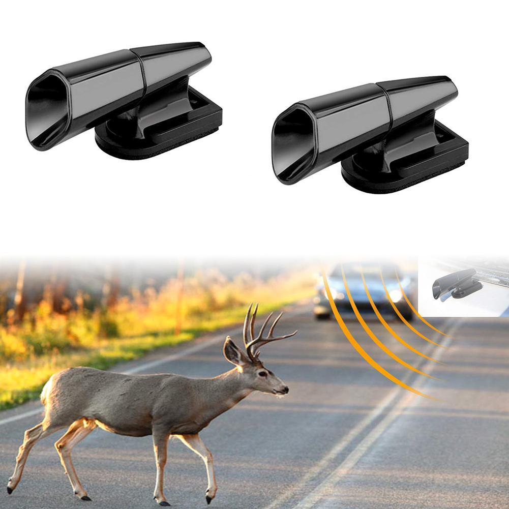 2Pcs Ultrasonic Animal Saving Wind Whistle Cars Motorcycle Deer Warning Repeller Black Whistles warn
