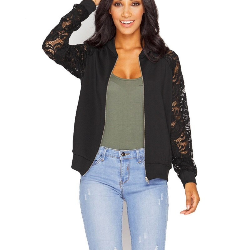 Abrigos básicos de manga de encaje ajustados para mujer, chaqueta informal con cremallera de retazos de encaje y manga larga, chaqueta Bomber, prendas de vestir