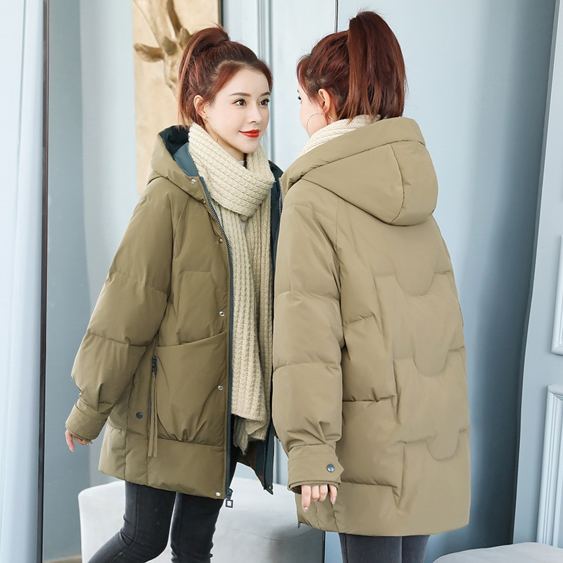 UVRCOS Down Padded Jacket Women's Mid-Length Winter 2021 New Korean Style Padded Jacket Oversize Thick Padded Jacket Trend Coat