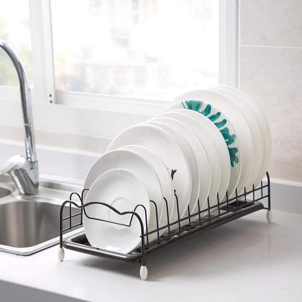 Estante de hierro para secado de platos de cocina, escurridor de vajilla con bandeja, estante de almacenamiento, organizador de cocina
