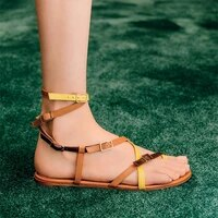 womens sandals 2021 summer fashion clip toe flip flops color matching black flat sandals buckle strap gladiator sandalias shoes