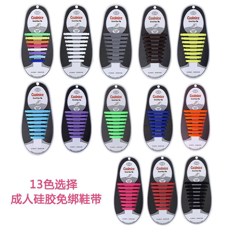 16 pçs/lote Sem Gravata Cadarço Cadarços Elásticos de Silicone Especial para Homens & Mulheres Âncora Lacing Borracha Zapatillas 13 Cores