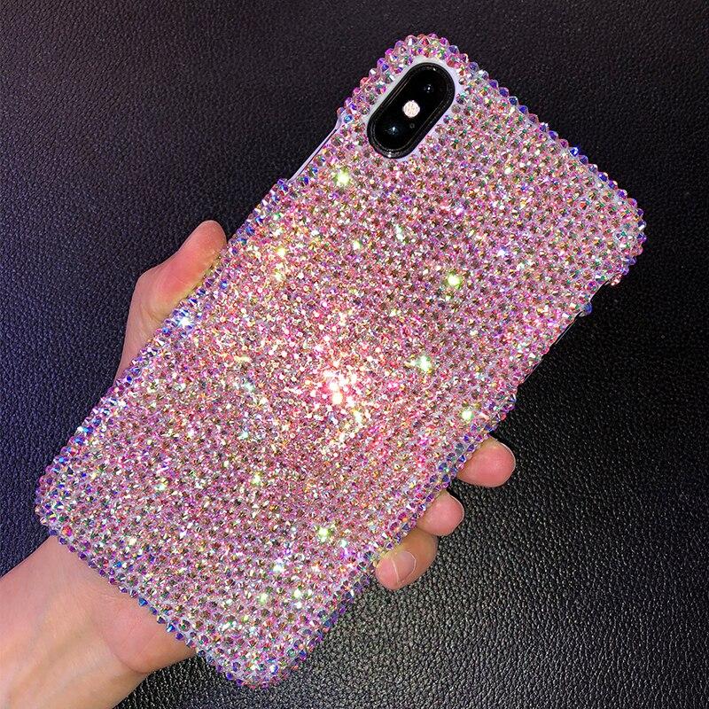 Luxo artesanal bling completa strass diamante cristal caso para apple iphone 11 pro x xs xs max xr 7 8 plus personalizado caso capa