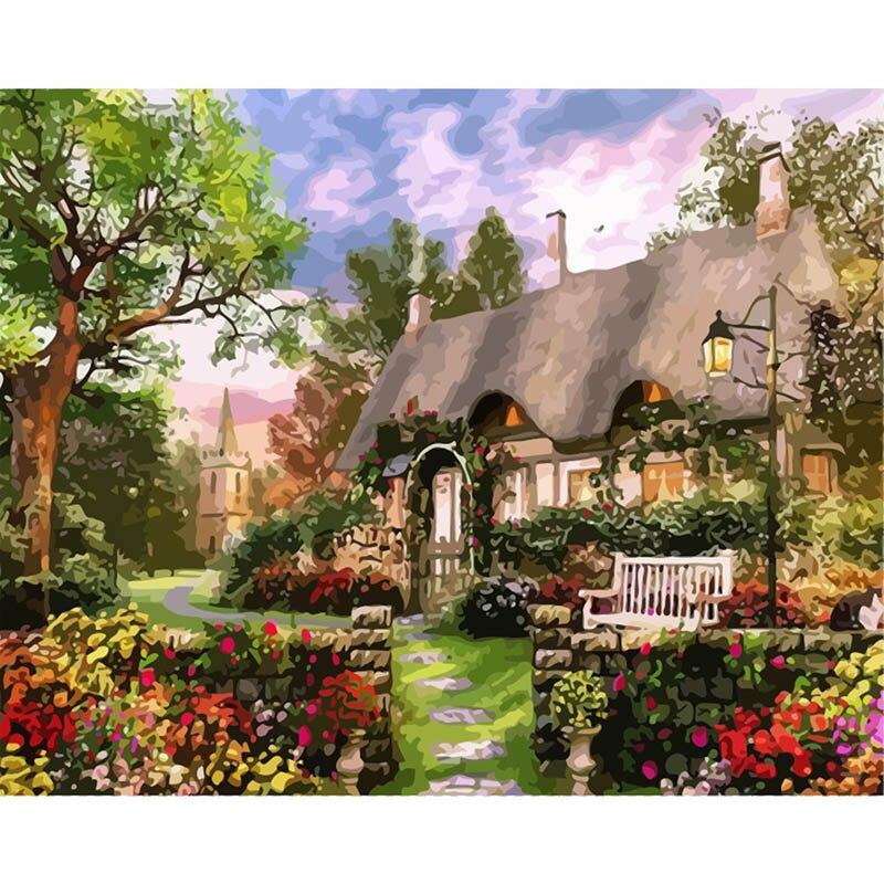 DIY pinturas al óleo por números casa paisaje pintura por números Kits dibujo lienzo pintado a mano regalo decoración del hogar