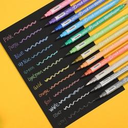 Jianwu 12 cores/conjunto criativo cor metálica escova caneta duplo-headed desenho arte marcador caneta diy diário pintura material escolar