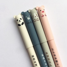 4 Teile/satz Kawaii Schwein Bär Katze Maus Löschbaren Gel Stift Schule Bürobedarf Schreibwaren Geschenk 0,35mm Blau Schwarz Tinte
