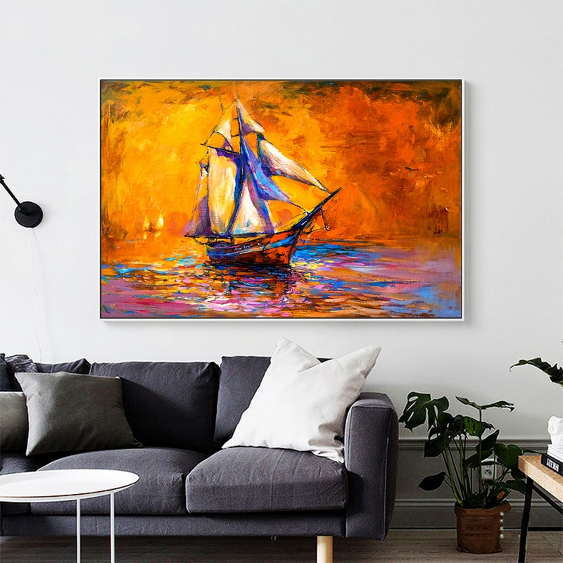 Bote pintura al óleo de atardecer pared arte lienzo cuadros de pintura...