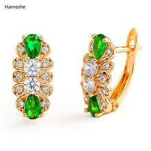 Hanreshe Gold Stud Earring Classic Jewelry Weddings Zirconia Luxury Copper Mini Red Green Colour Cry