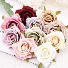 Roses artificielles en soie, 7cm, 10/lot, fausses fleurs, pour une décoration de mariage, pour une couronne, pour un cadeau, Scrapbooking