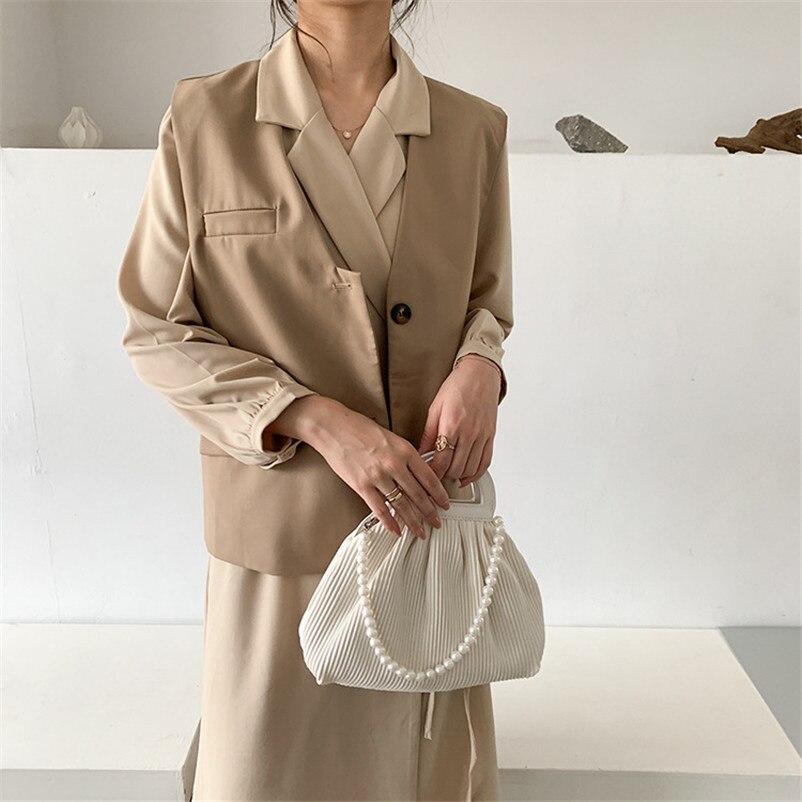 Women Solid V Neck Vest Blazer OF7477 Eleagnt Office Wear Cardigan Coat Female Waistcoat Casual Sleeveless Jacket With Pockets