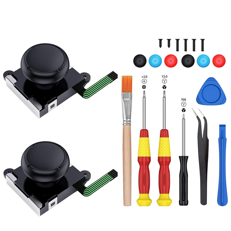 2-Pack 3D Joycon Joystick Replacement,ABLEWE Analog Thumb Stick Joy Con Repair Kit for Nintendo Switch, Include Tri-Wing, Cross