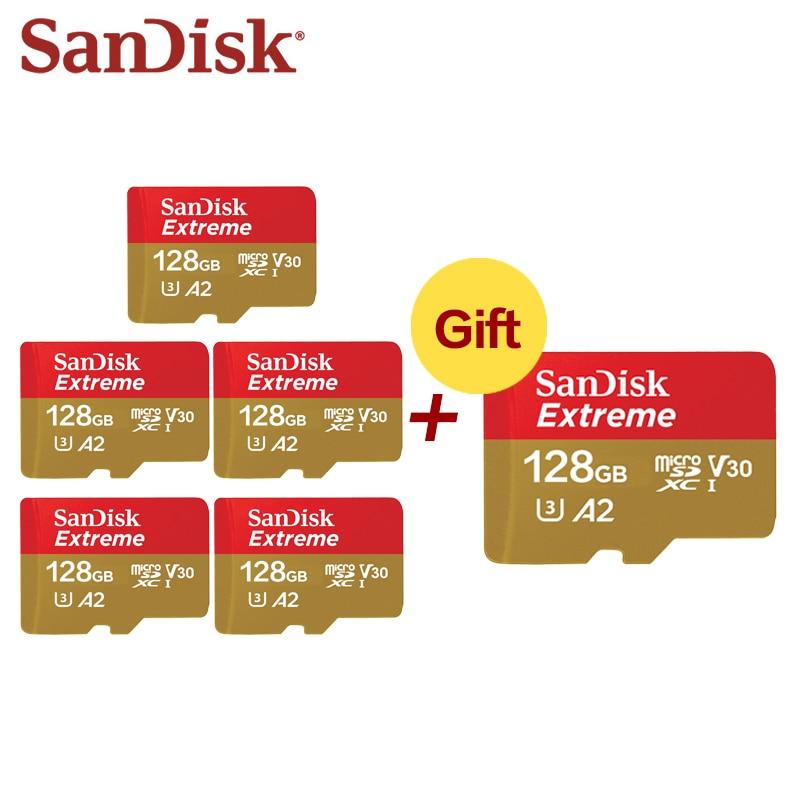 SanDisk compre 5 y Obtenga 1 tarjeta de memoria gratuita Extreme 32GB A1 tarjeta Micro SD 64GB 128GB SDXC UHS-I U3 4K A2 tarjeta de memoria Flash Microsd