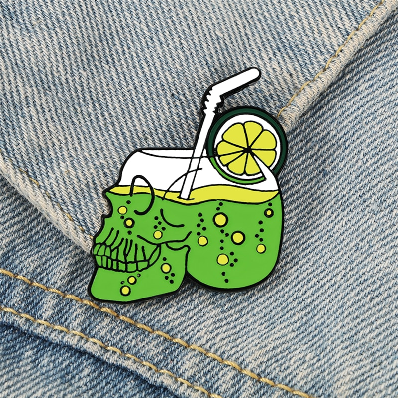 Summer Drink Lemon Juice Skull Enamel Pins Punk Skeleton Brooch Bag Clothes Lapel Pin Gothic Badge H