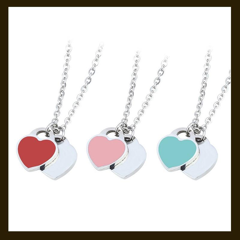 Women's fashion enamel Double Heart Pendant S925 Sterling Silver Chain Necklace wedding fashion jewe