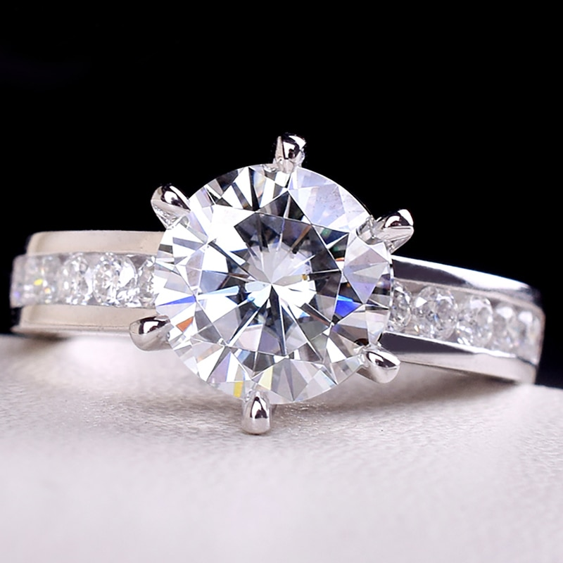 14k ouro branco 1 2 3 4 5 quilates moissanite anel de diamante feminino elegante redondo na moda festa de casamento noivado aniversário anel