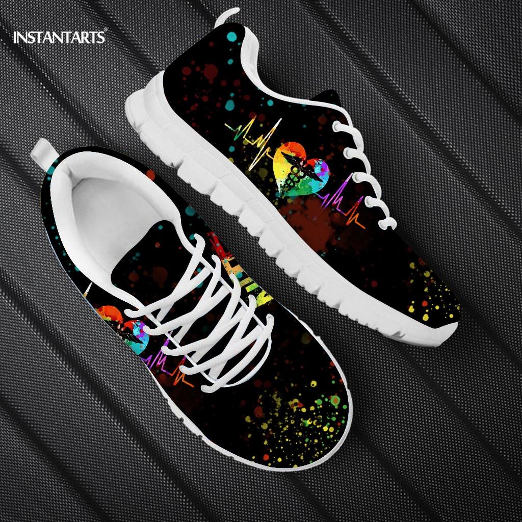 INSTANTARTS Rainbow Heart Women's Shoes Lace Up Female Footwear Health Care Nurse Pattern Women Flats Shoes Casual Sneakers
