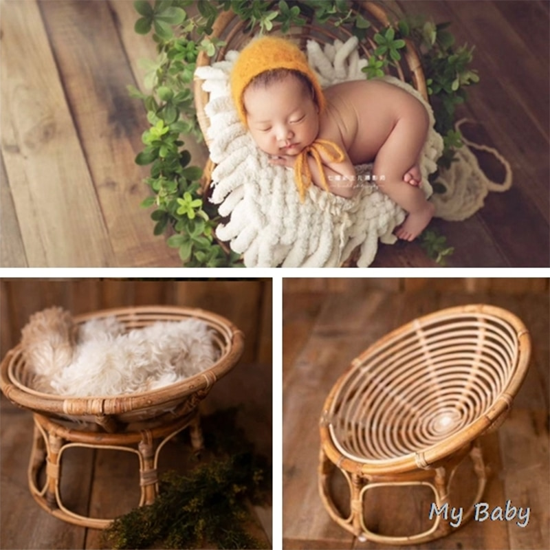 Baby Photography Props Handmade Bamboo Basket Vintage Chair Newborn Photo Shoot Posing Sofa for Boys Girls Fotografia Acessorio