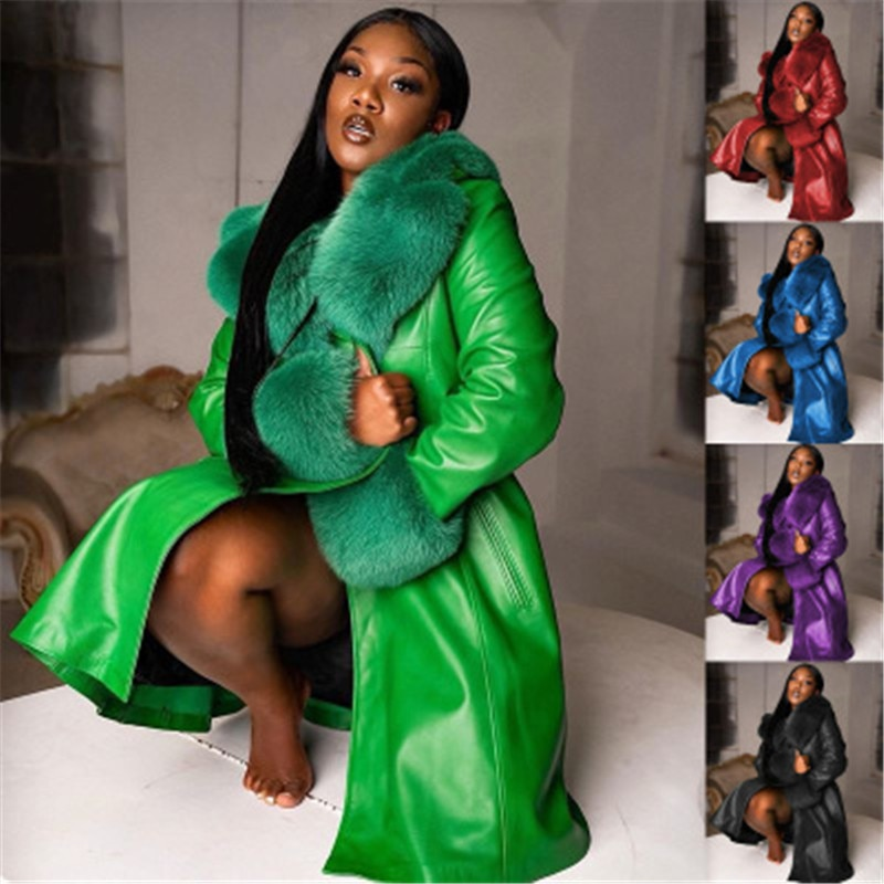 Fashion Faux Leather Coats for Womens Lapel Long PU Stitching Large Fur Collar Plus Size Coat Winter