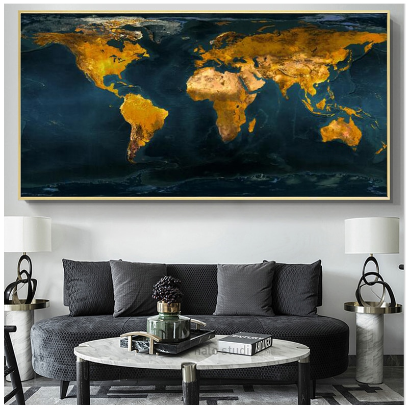 Diy pintura de diamante completo cuadrado redondo taladro abstracto mapa del mundo dorado bordado de diamantes punto de cruz 5d mosaico arte GiftZP-2838