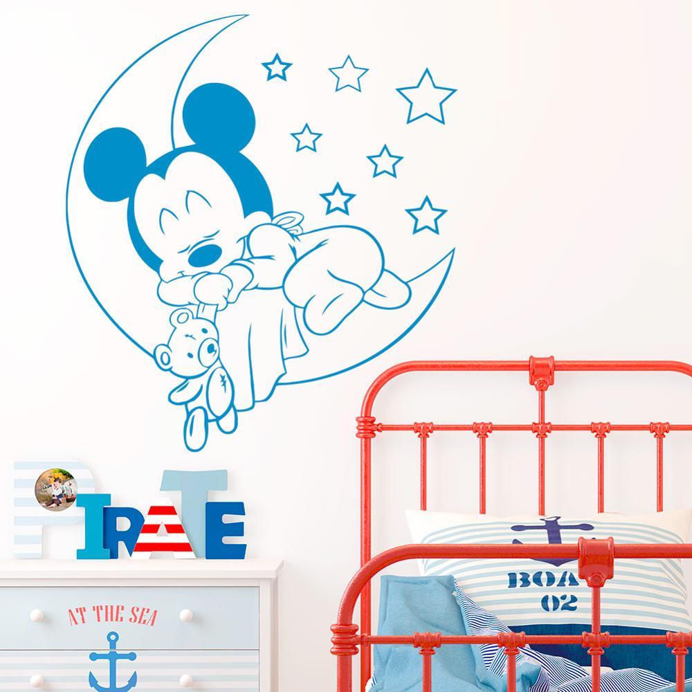 Etiqueta de la pared de vinilo de Mickey Mouse en la luna con estrellas Calcomanía para niños habitación de bebé accesorios de dormitorio decoración del hogar