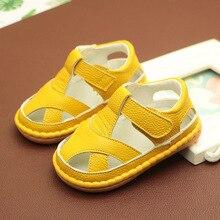 Sandales pour bébés garçons et filles   En cuir véritable, à semelles souples, chaussures dété antidérapantes, chaussures jaunes pour filles, livraison gratuite