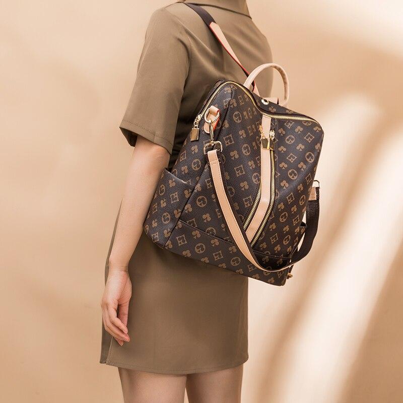 حقائب ظهر مضادة للسرقة للنساء موضة جديدة لعام 2021 حقيبة نسائية مطبوعة حقيبة فاخرة متعددة الأغراض ذات سعة كبيرة للسفر في وقت الفراغ