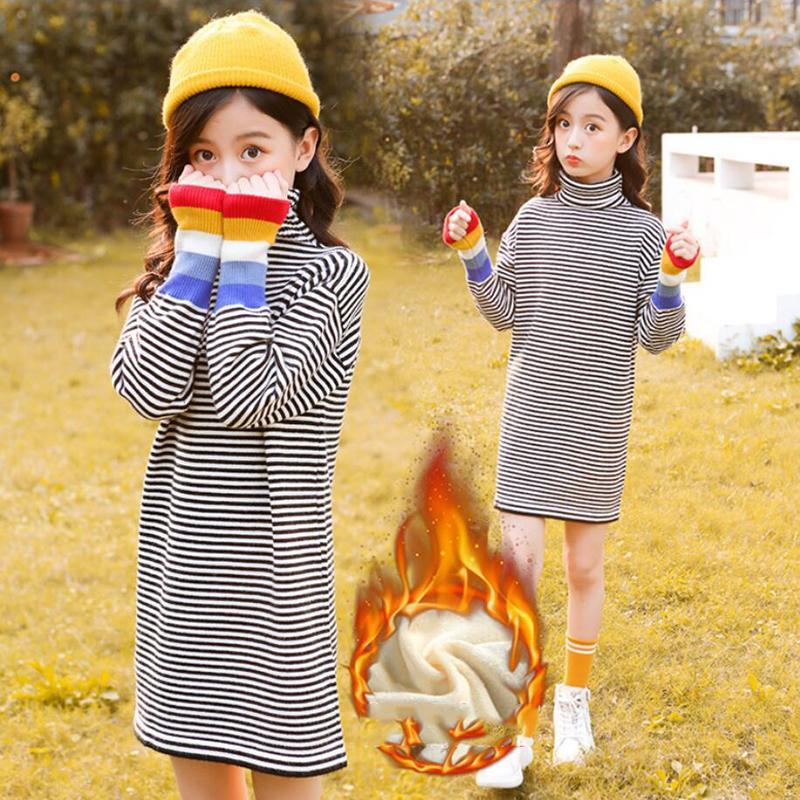 New 2020 Autumn Winter Children Girls Knitted Dress Kids Casual Turtleneck Long Sleeve Sweater Dresses Teen Girls Clothing K100 enlarge
