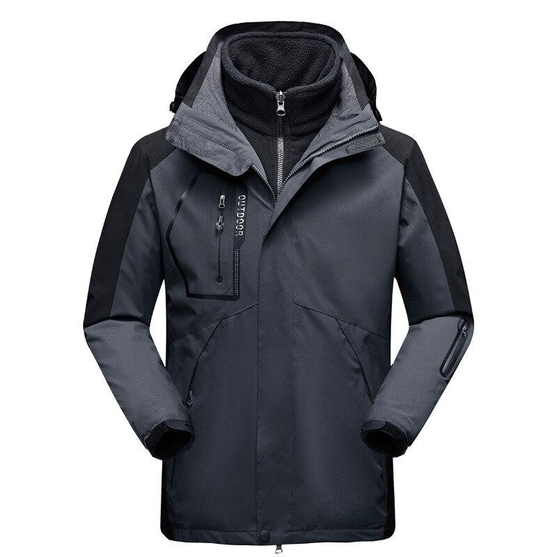 Зимние лыжные куртки для мужчин, уличные треккинговые термальные водонепроницаемые куртки 2 в 1 для сноуборда, Походов, Кемпинга, альпинизма...