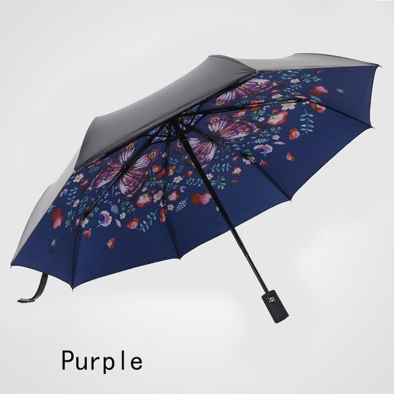Soleado lluvia de doble uso triple ciervo negro Paraguas con revestimiento apertura automática/cerca de Paraguas creativo regalo protector solar Paraguas mujer W