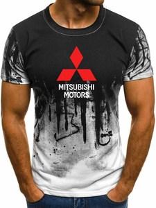 New Gradient Men's T-shirt Mitsubishi Car Logo Printing Summer Fashion Casual Short Sleeve Round Neck Cotton Men's T-shirt