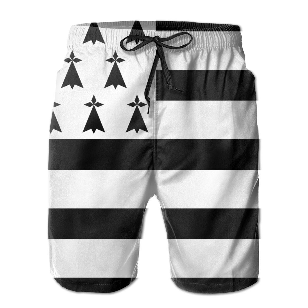 New Summer Beach Men's Shorts Printing Casual Quick Dry Board Shorts Hanging Breizh Bretagne Llydaw Brittany Mens Short Pant