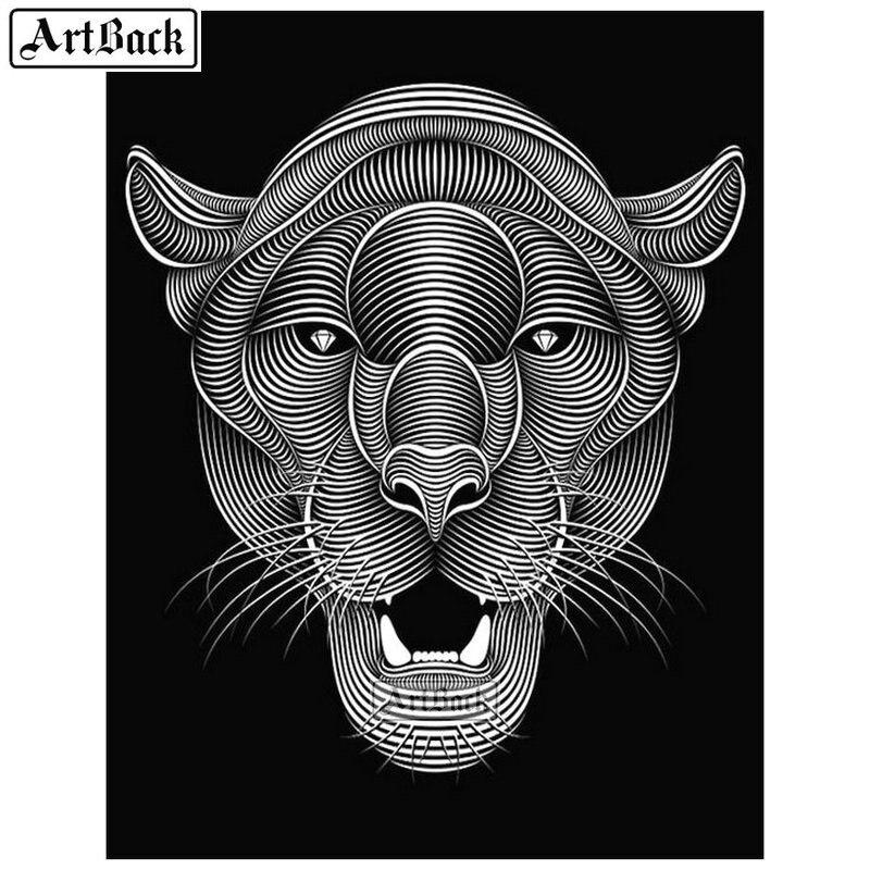 ARTBACK 5d diy pintura de diamante con Tigre cabeza Arte Abstracto completo cuadrado/redondo diamante arte animal 3d diamante mosaico bordado