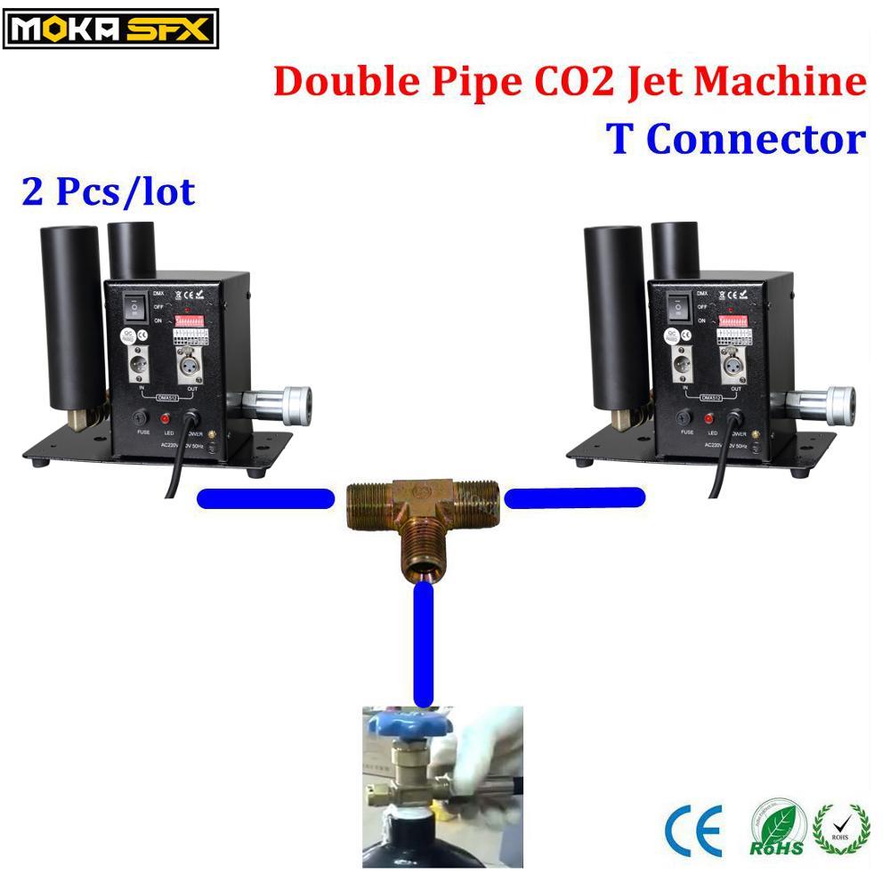 Станок co2 jet, станок co2 co2 с эффектом дыма, 2 шт., двойное сопло, станок co2, совместный бак с Т-образным соединителем, латунный фитинг