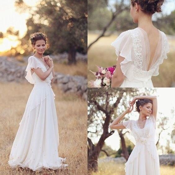 Богемные свадебные платья в стиле хиппи 2021 пляжные свадебные платья а-силуэта с открытой спиной белые кружевные шифоновые богемные