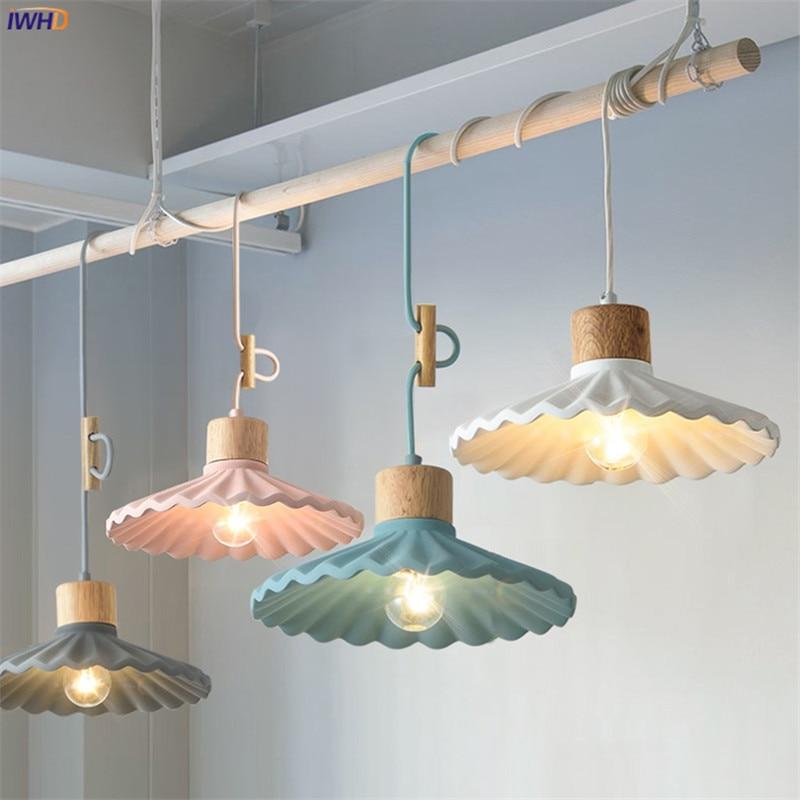 IWHD اللون الشمال بسيطة قلادة LED أضواء تركيبات مطعم غرفة نوم ضوء غرفة المعيشة الحديثة الاسمنت شنقا مصباح الإضاءة