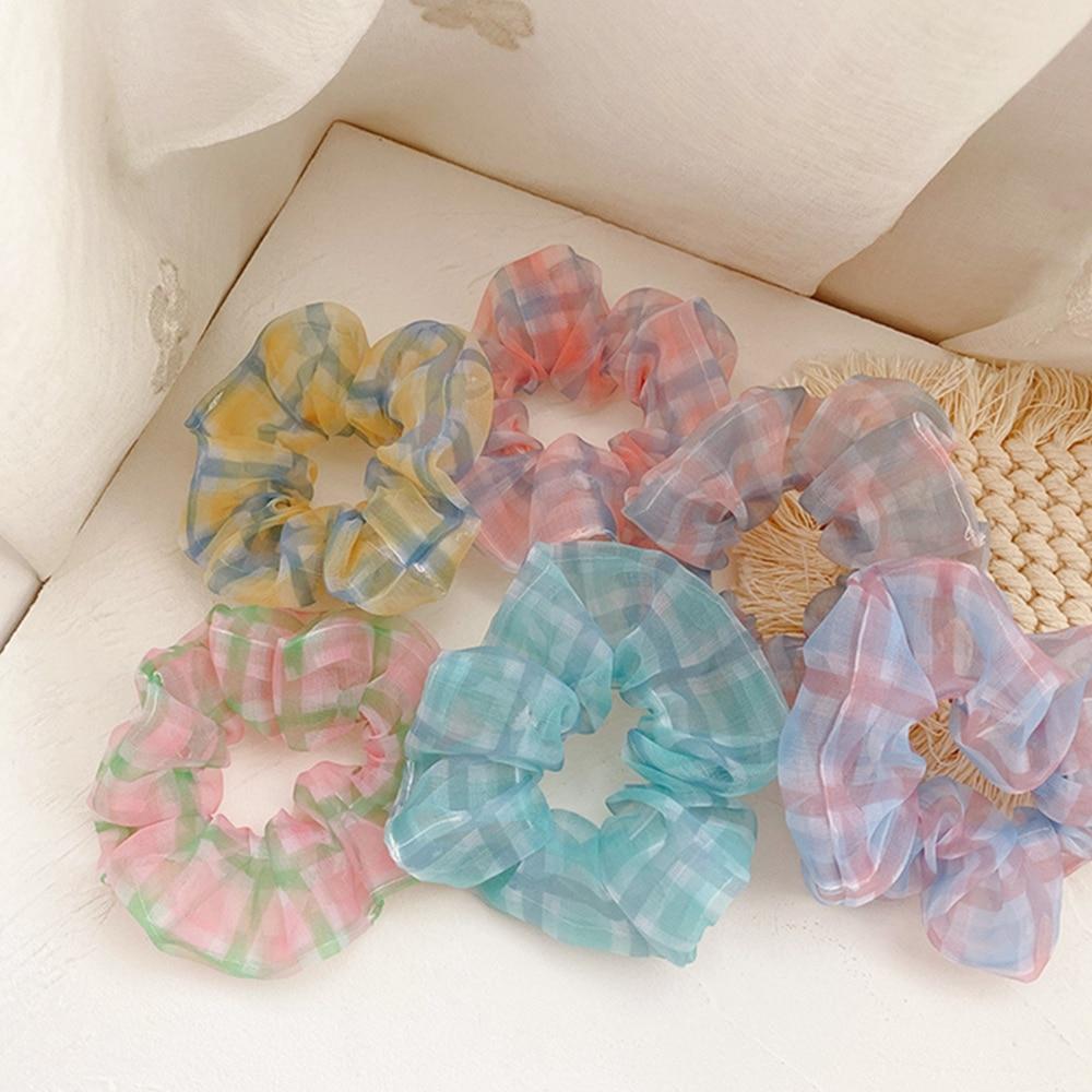 Malla de moda a cuadros Scrunchies accesorios para el cabello para mujeres niñas anillo elástico para el pelo lazo Cola de Caballo soporte cinta para el pelo de goma