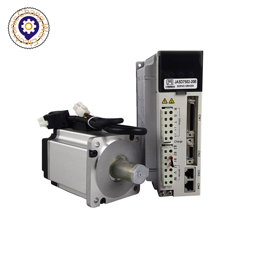 JMC 750 واط سيرفو سائق معدات موتور AC220V عالية الجهد سيرفو طقم أدوات تحكم رقمي باستخدام الحاسب الآلي سيرفو سائق JSD7502-20B + محرك معزز 80JASM507230K17BCT