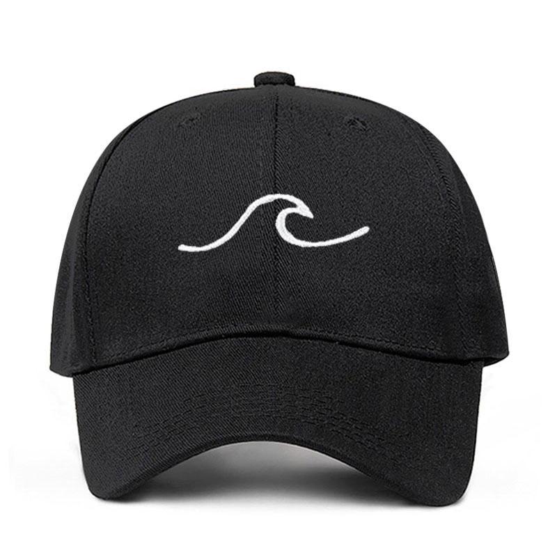 Unisex bordado ondulado línea sombreros negro blanco rosa gorra de béisbol mujeres hombres Snapback Casual ajustable Hip Hop papá sombrero Dropshipping