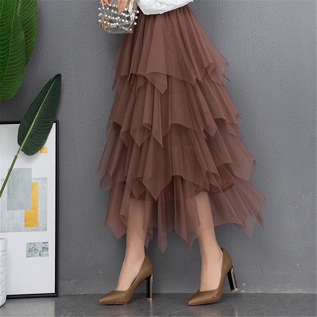 Moda 2019 primavera fiesta falda elástica alta cintura larga tul falda mujeres Irregular dobladillo falda tutú de red señoras e2