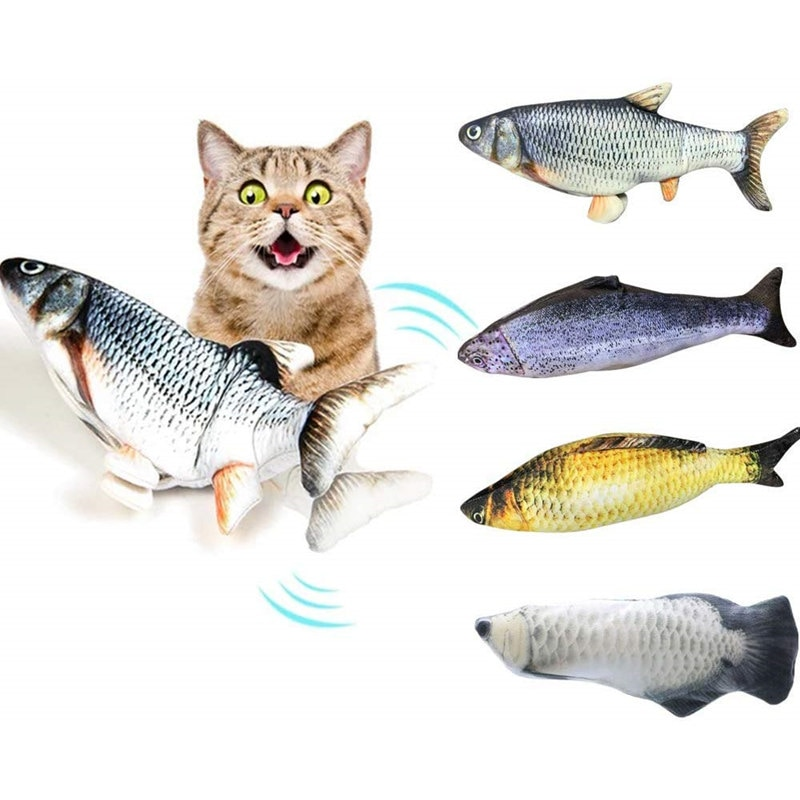 Electronic Cat Toy 3D Fish Electric USB Charging Simulation Fish Toy for Cat Pet Playing  supplies j