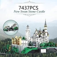 world famous architecure building block germany new swan stone castle 7437pcs bricks assemble model toy collection for gifts