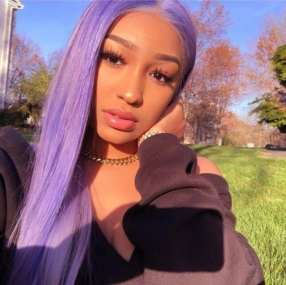 Light Purple 13x4 Lace Front Wigs Straight Brazilian Virgin Human Hair 180 Density