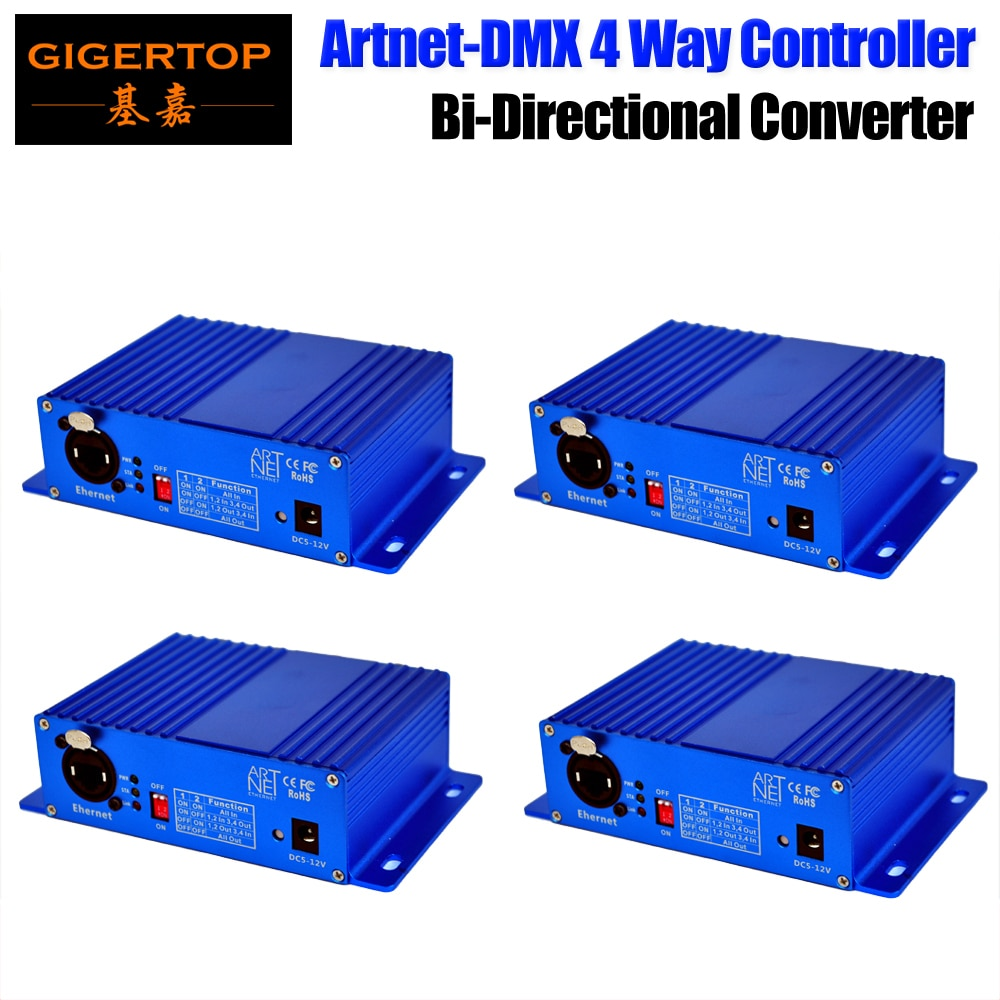 شحن سريع 4x إيثرنت DMX محول المرحلة ضوء تحكم RJ45 واجهة الشبكة/معيار DMX512 الناتج اثنين من وضع التحكم