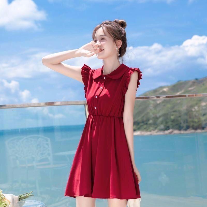 Moda mujer Sexy Boho rojo Mini Vestido verano Casual gasa fiesta muñeca Collar Lotus hoja de manga delgada cintura chaleco vestidos Vestido
