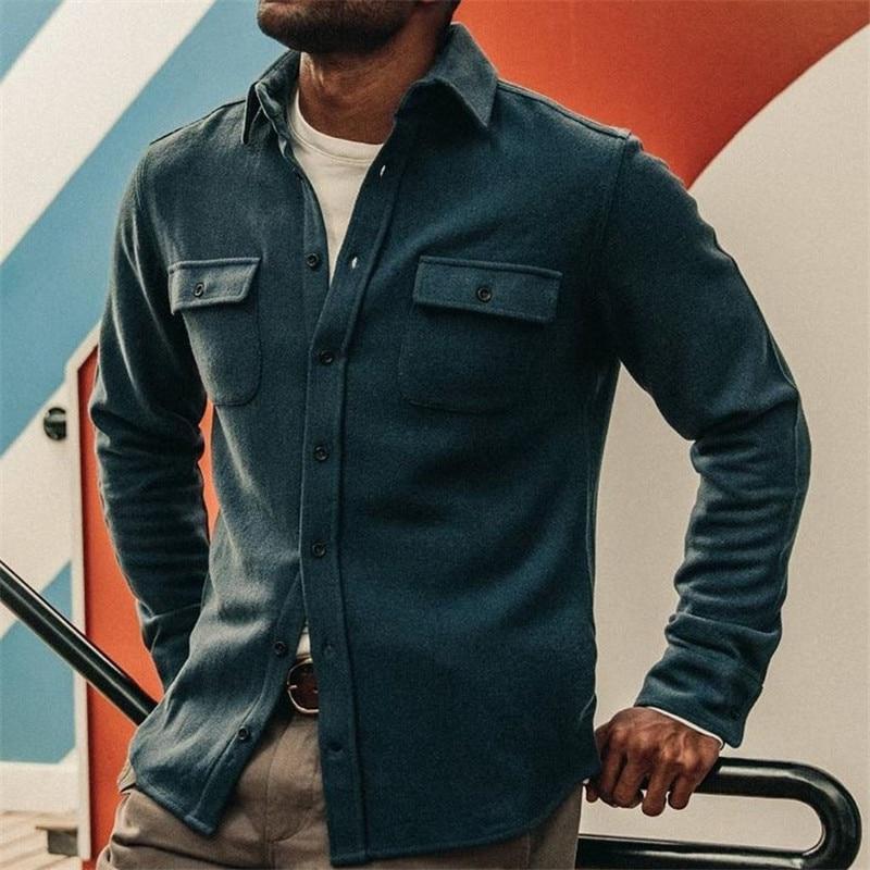 Осенняя Классическая приталенная мужская хлопковая куртка, модная повседневная рубашка, однобортная однотонная куртка с лацканами и карма...