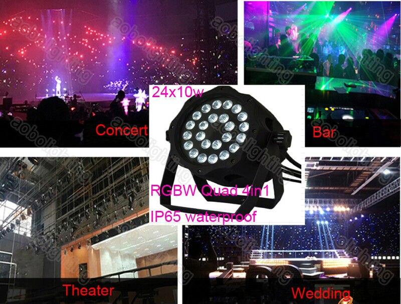 Luz Led de alta potencia de 24x10W para exteriores, IP65, RGBW, Quad luces LED de lavado, proyector de Navidad DMX uplight para conciertos
