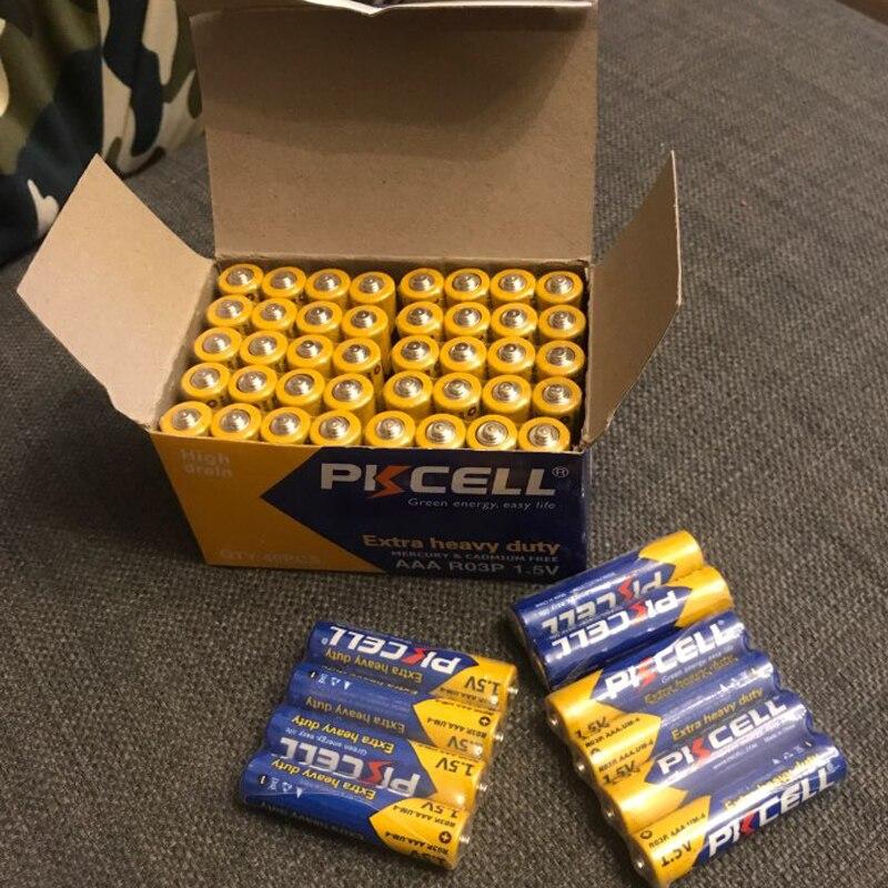 50 Uds PKCELL R03P AAA Batería primaria de carbono Zinc aaa 1,5 V igual a UM4 MN2400 LR03 SUM4 LR3 para juguetes de Radio con cámara